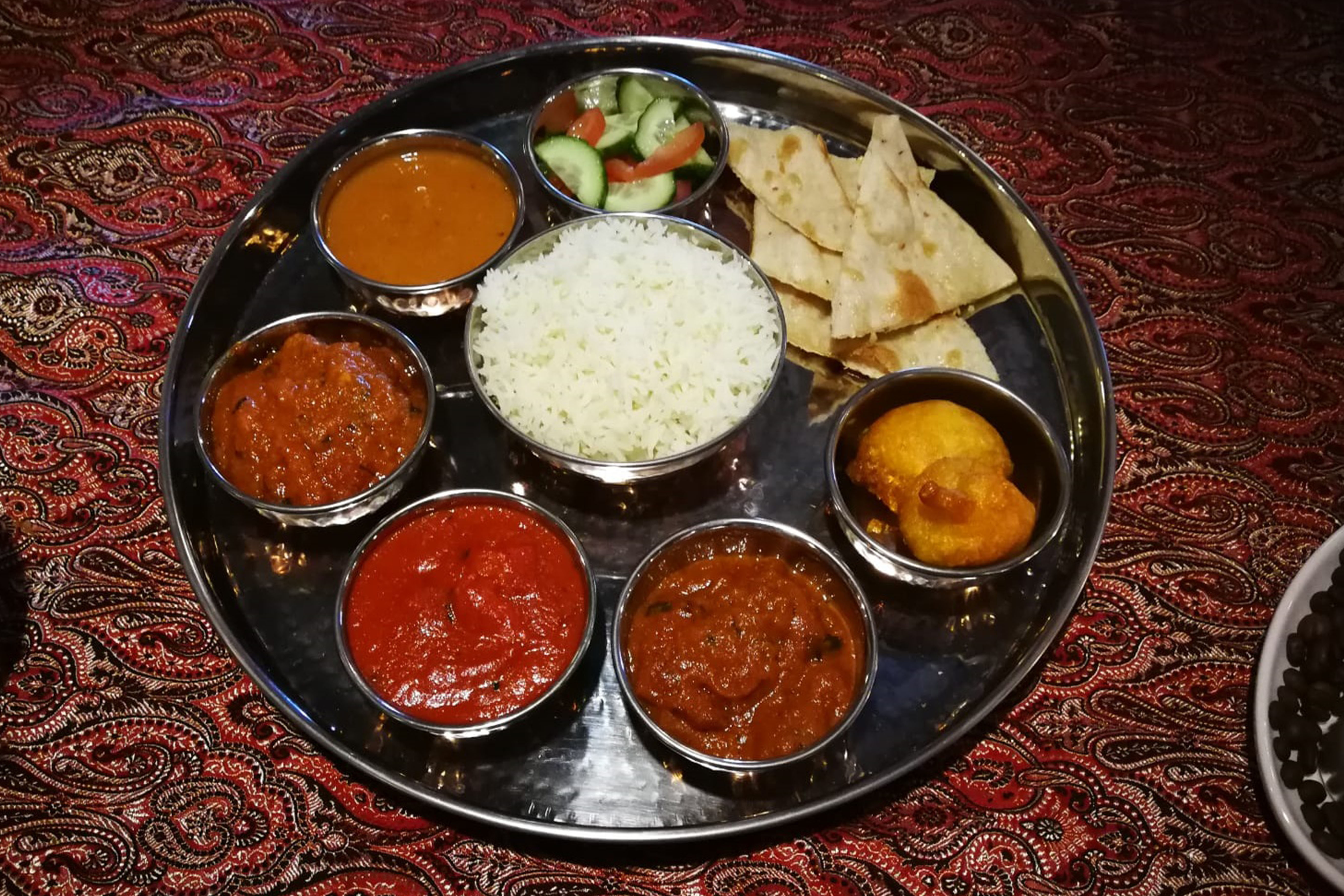 Meat and vegetarian Thali